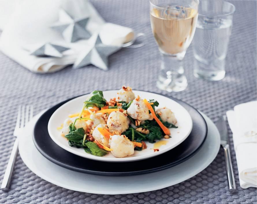 Geitenkaasgnocchi met spinazie en truffelolie