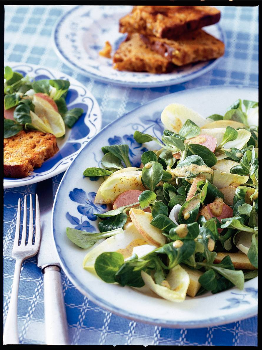Salade met Groninger-mosterddressing en toast van  Groningerkoek