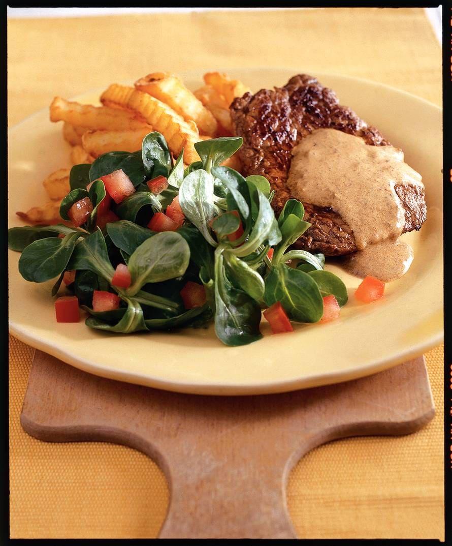 Biefstuk met mosterdsaus en frites