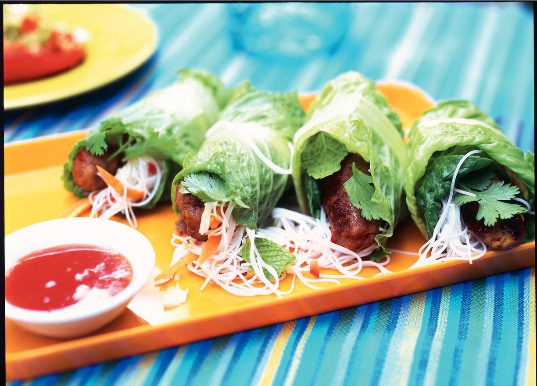 Vietnamese sla-gehaktrolletjes