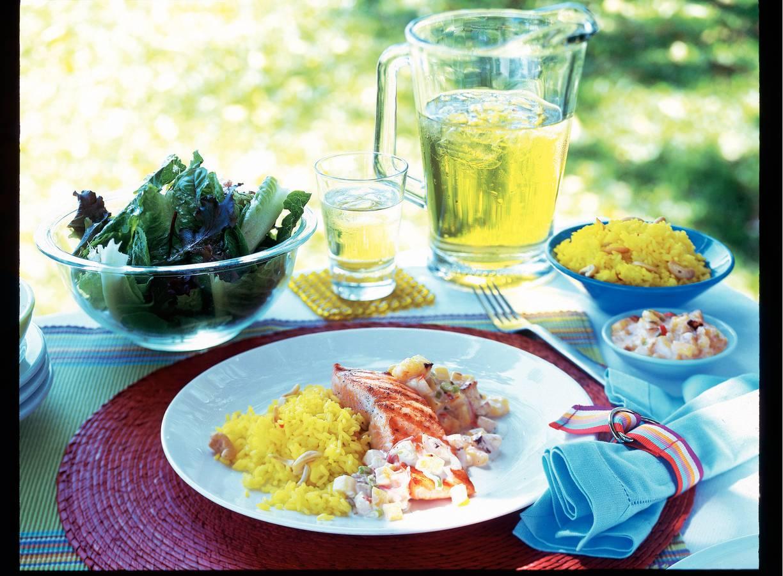 Zalm met salsa van gegrilde ananas