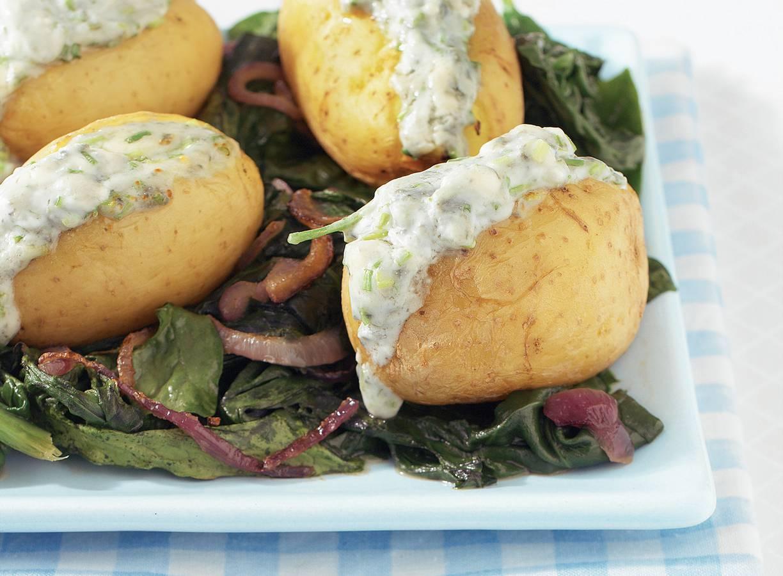 Pofaardappels met blauwaderkaas