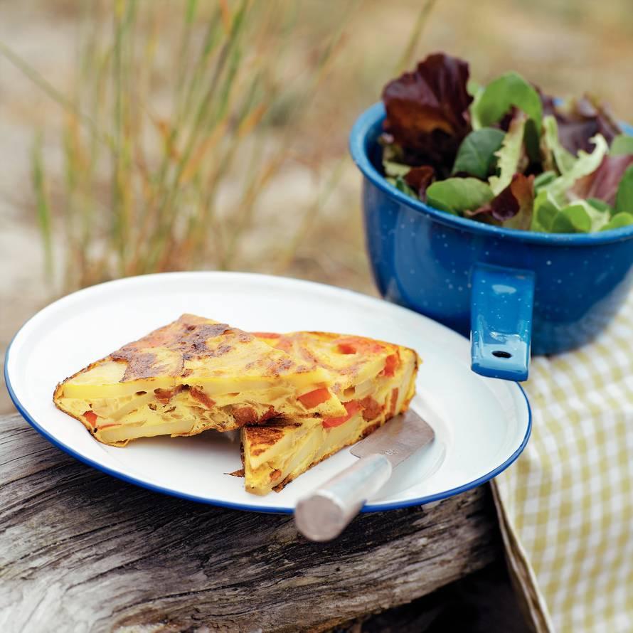 Tortilla met paprika en chorizo