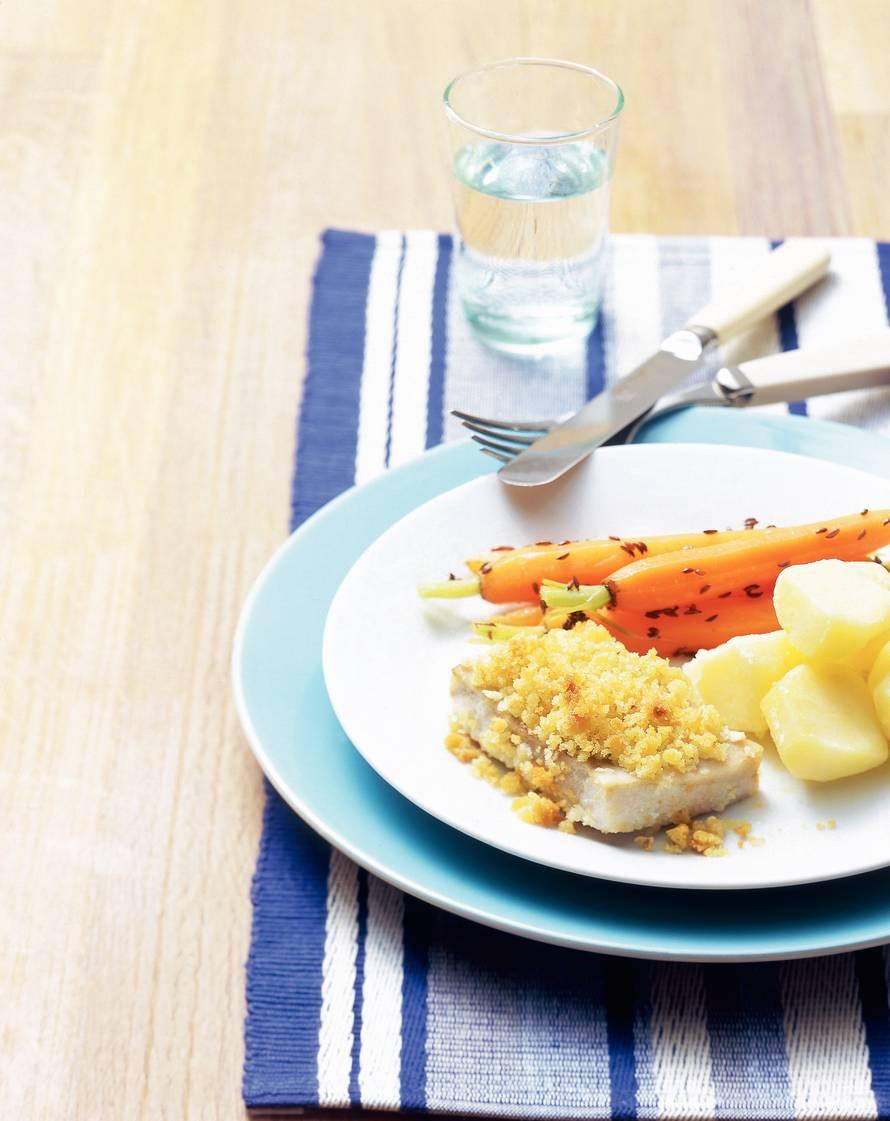 Koolvis uit de oven met worteltjes