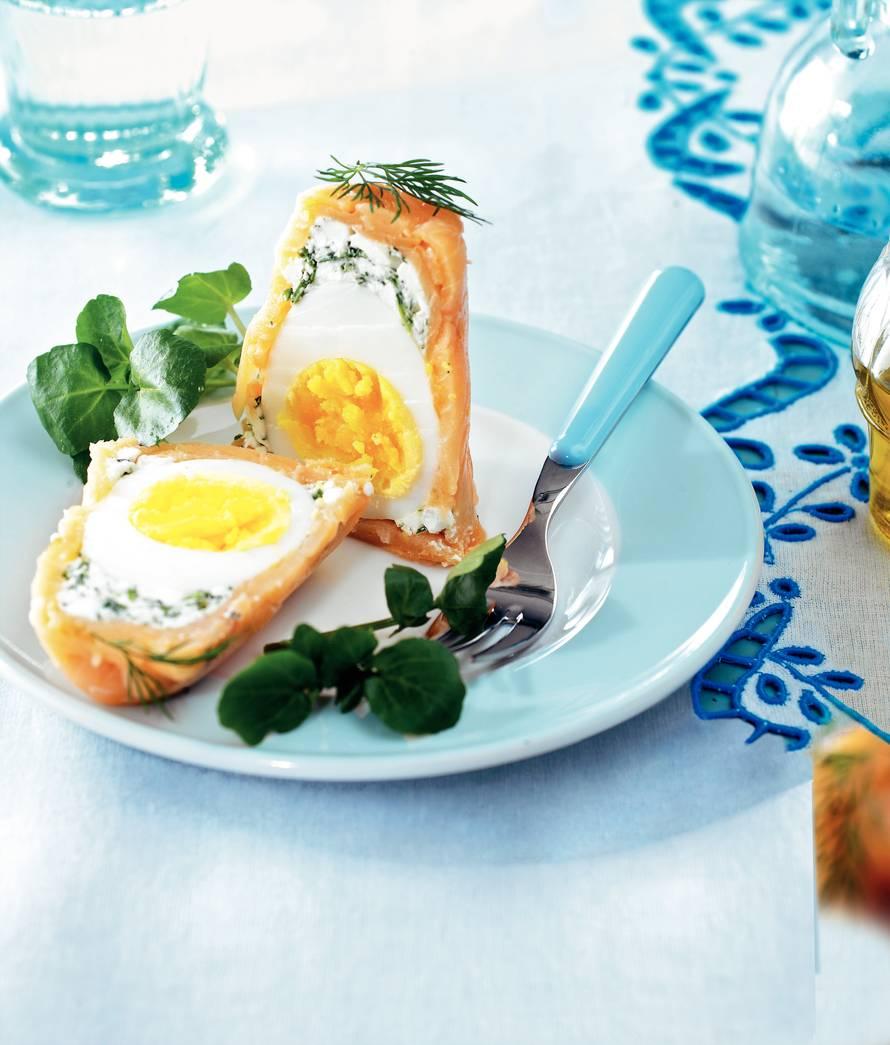 Eieren in gerookte zalm