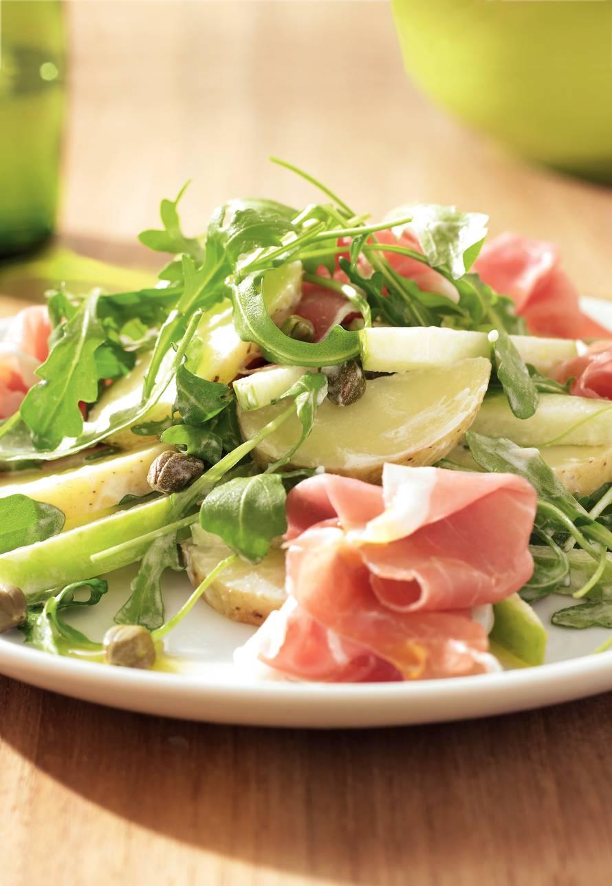Aardappelsalade met rucola en Parmaham