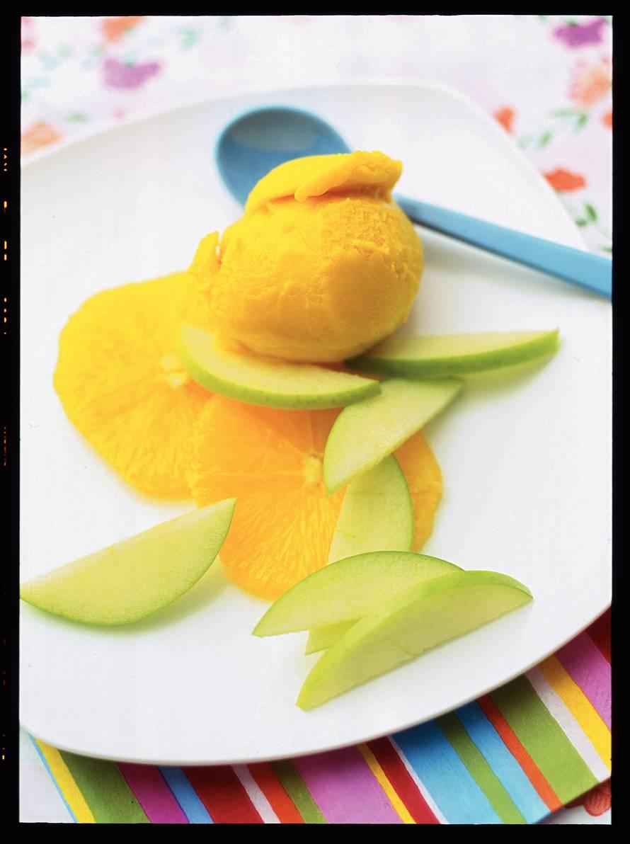 Mangosorbet met sinaasappel