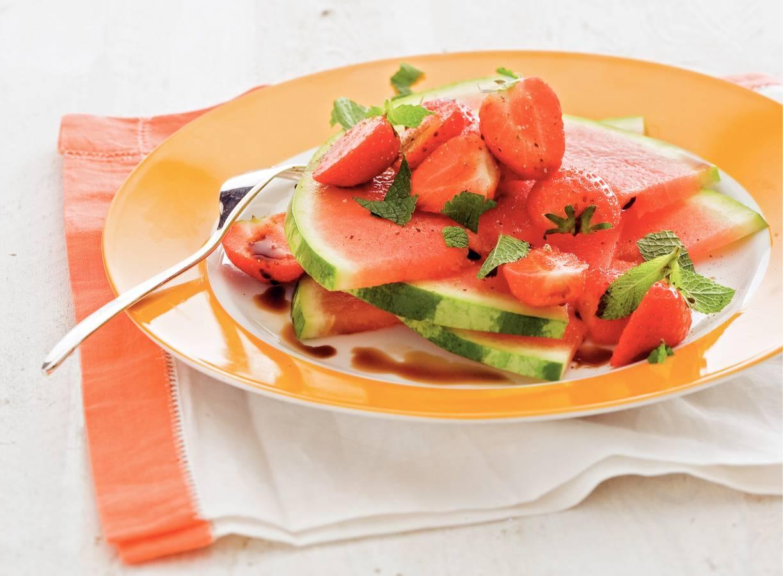 Meloen met aardbei en munt