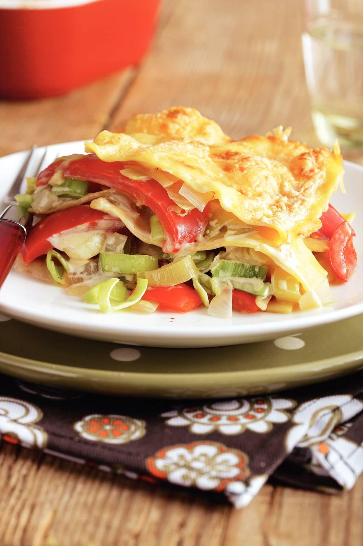 Preilasagne met paprika en oude kaas