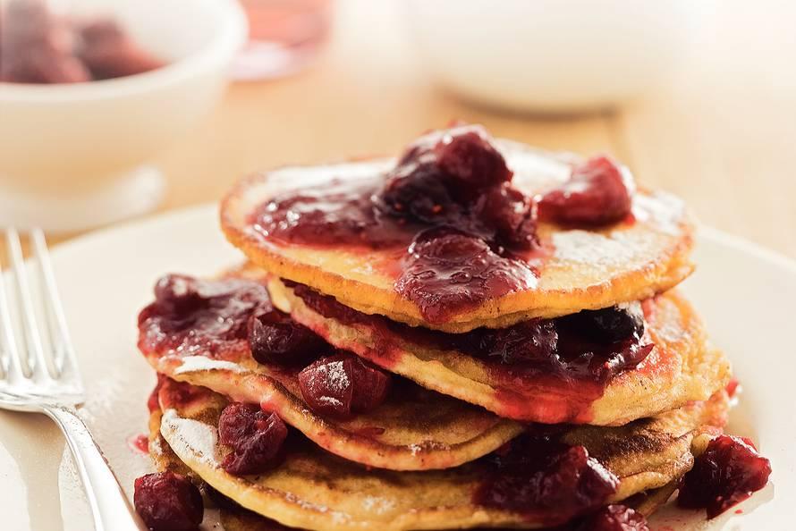 Pannenkoekjes met cranberrycompote