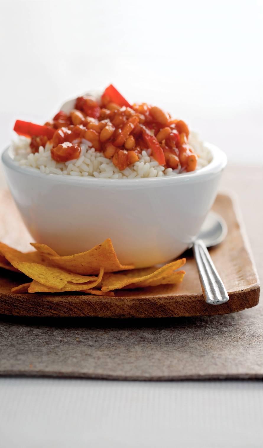Vegetarische chili met milde yoghurt