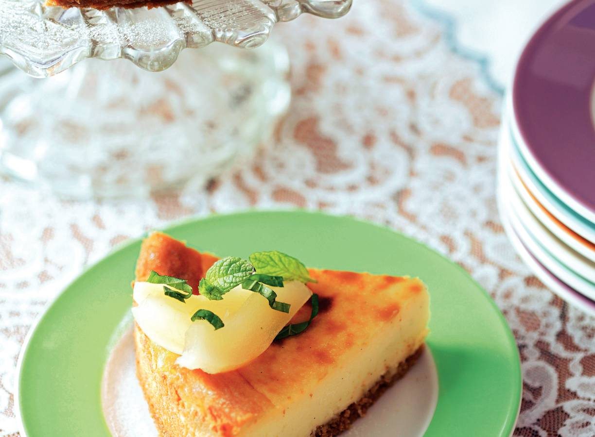 Witte chocolade-perencheesecake