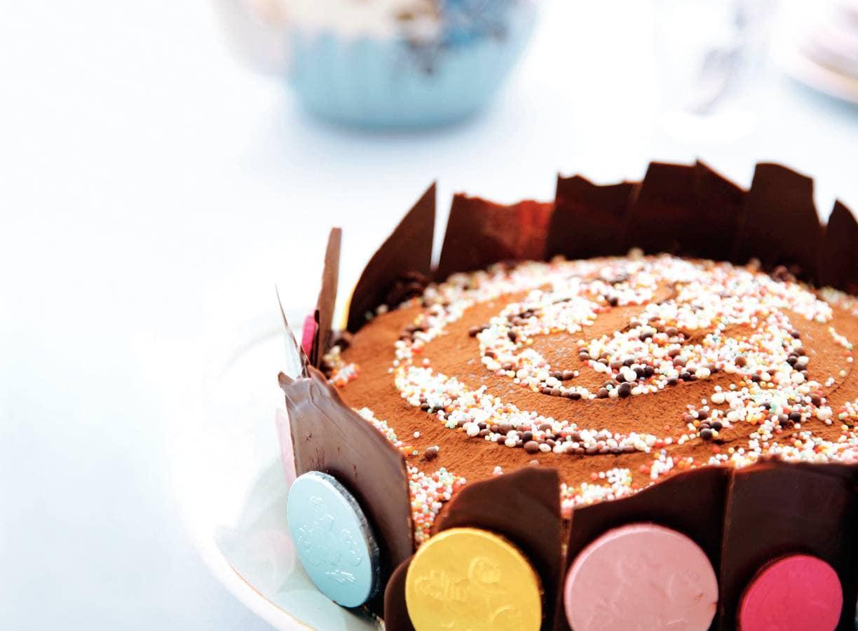 Chocoladetaart met chocolade-schotsen