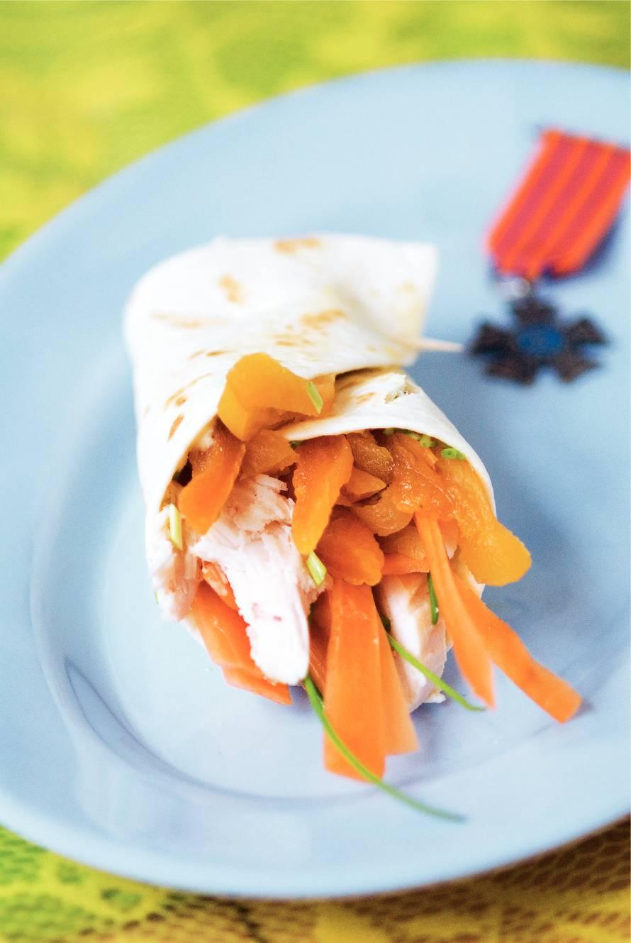 Wrap met kip en abrikoos