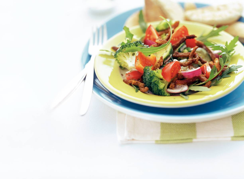 Shoarmasalade met stoomgroenten