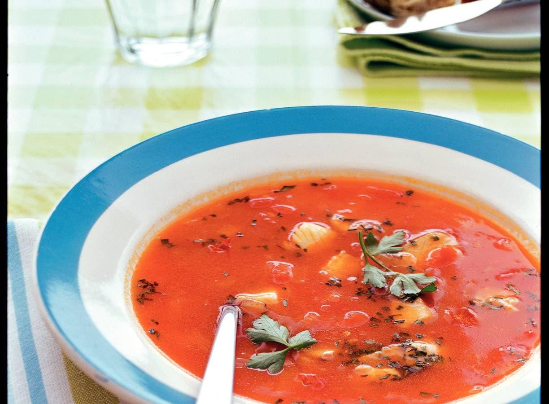 Tomatensoep met koolvis