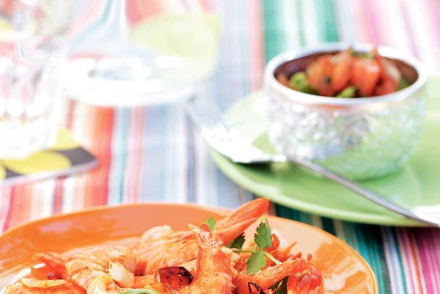 Garnalen met pittige tomatensalsa