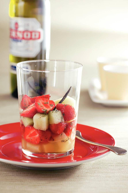 Aardbeien-meloenmelange