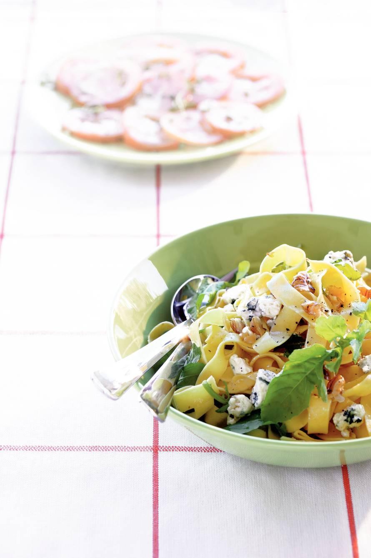 Pappardelle met rucola en blauwaderkaas