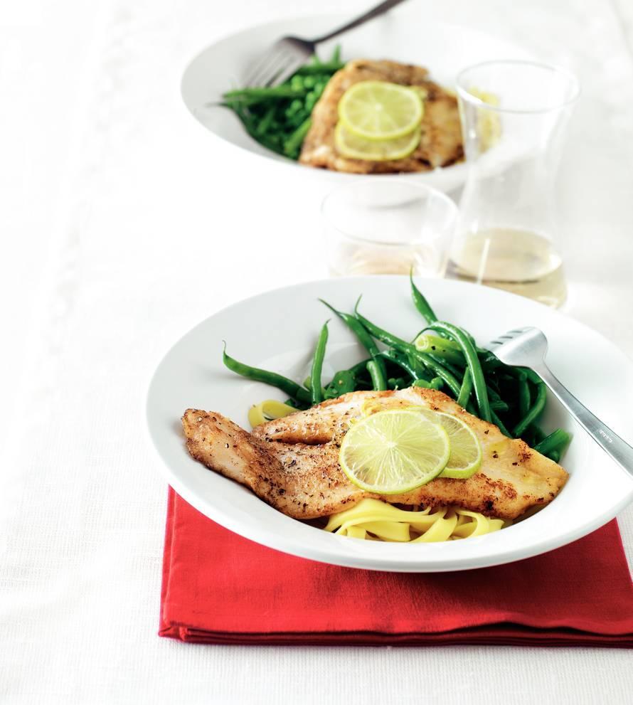 Pangasiusfilet met limoenboter en groenten