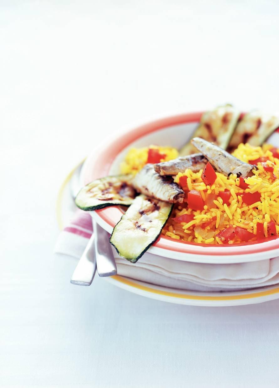 Rijstsalade met sardines en courgette