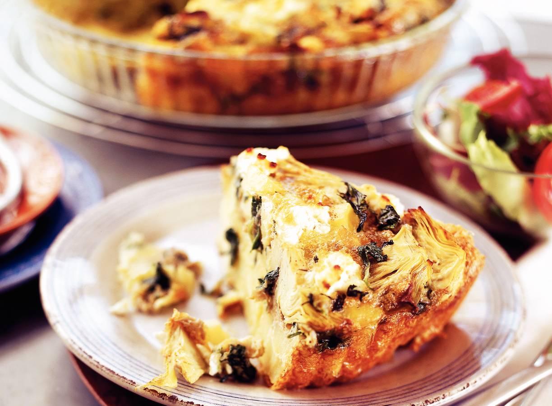 Frittata met aardappel, spinazie en artisjok