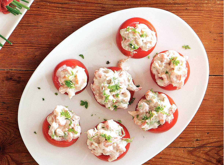 Gevulde tomaten met garnaaltjes