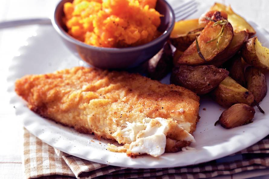gepaneerde vis bakken