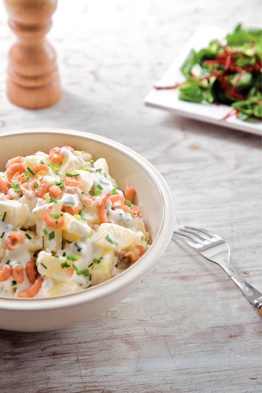 Aardappelsalade met Hollandse garnalen