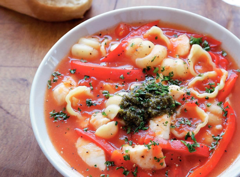Tomatensoep met pangasiusfilet