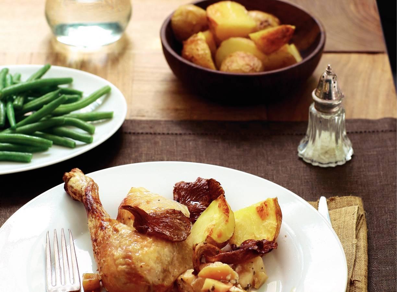 Calvadoskip met appels en oesterzwammen