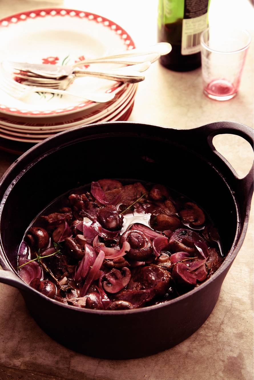 Karbonade in rode wijn