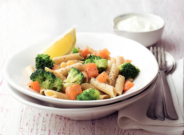 Penne met zalm en broccoli