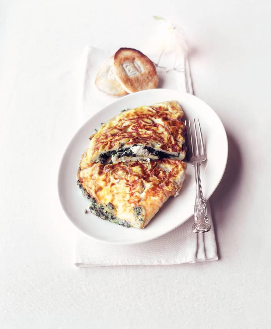 Omelet met spinazie en geitenkaas