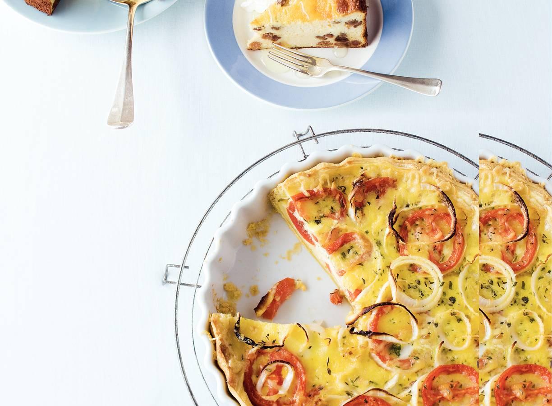 Tomatentaart met zoete ui