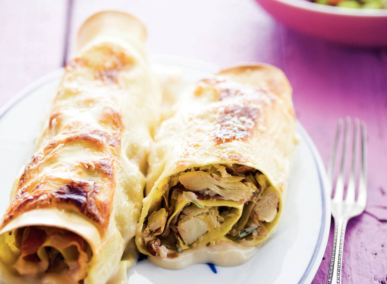 'Cannelloni' met artisjokharten en rauwe ham