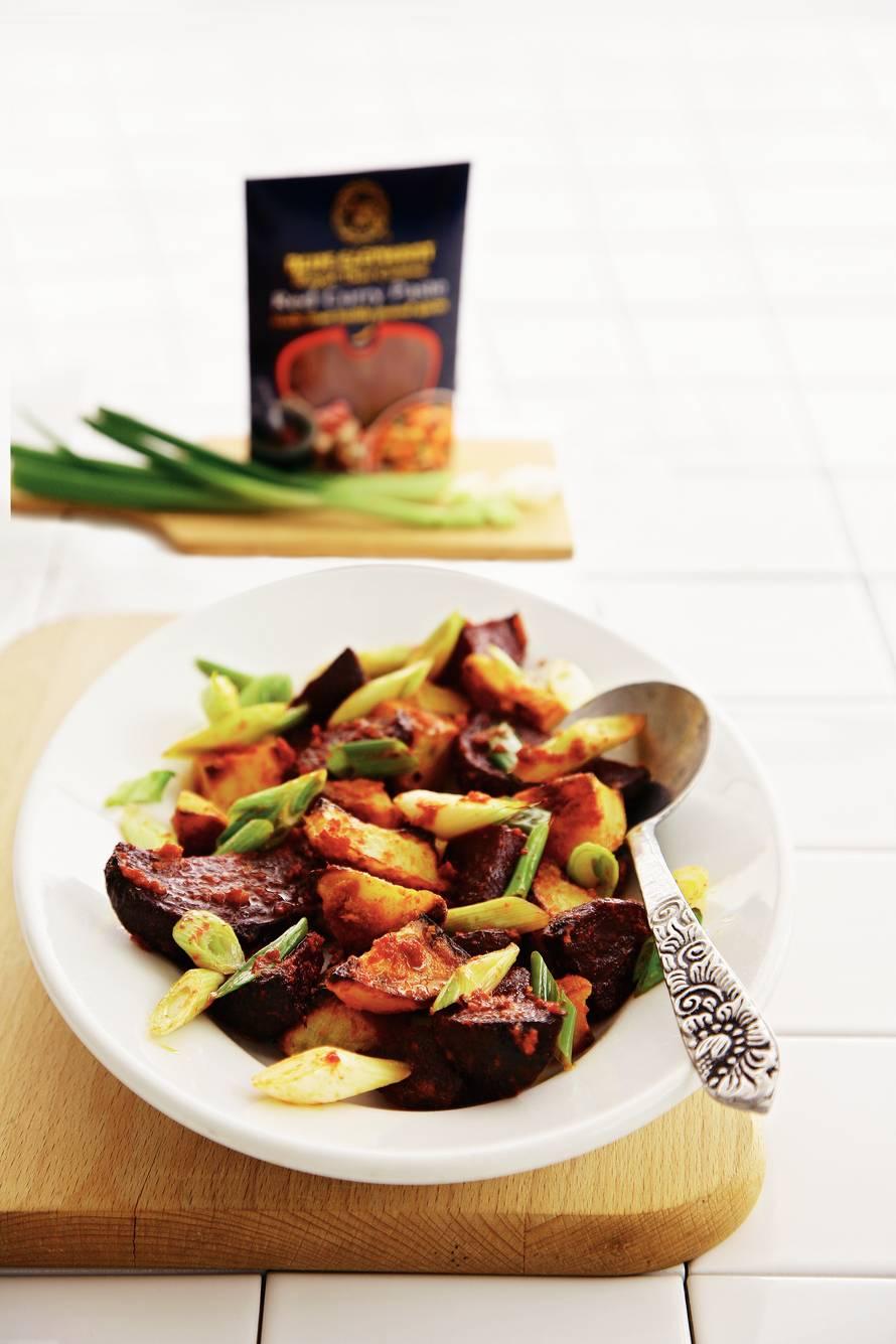 Geroosterde groenten met rode currypasta