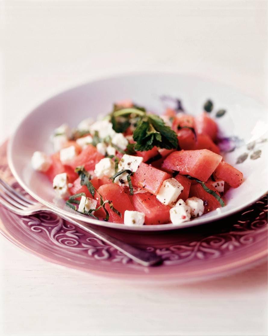 Watermeloen met kaas en munt