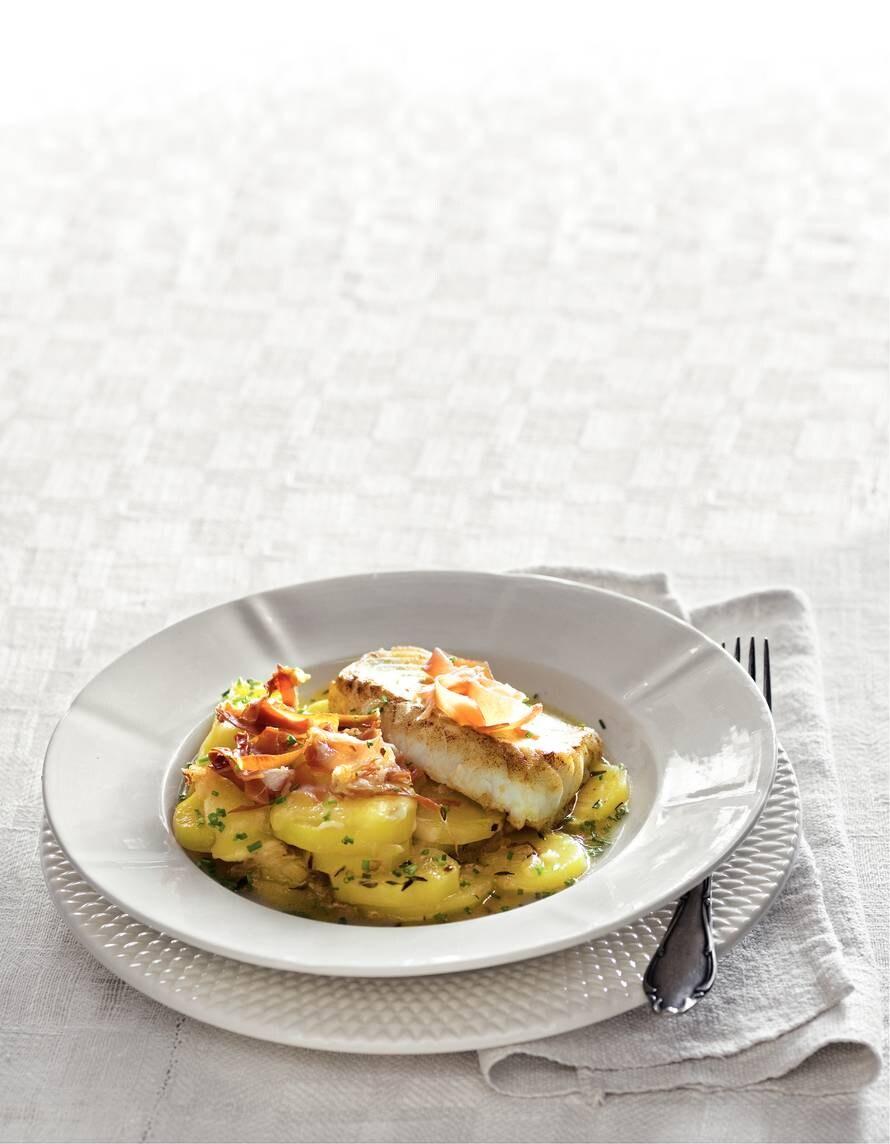 Kabeljauw met aardappel en ham