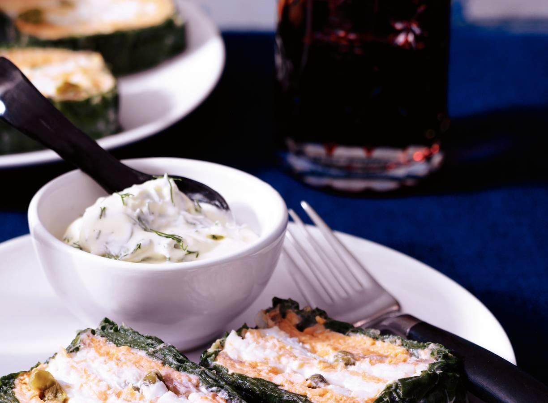 Zalmterrine met spinazie