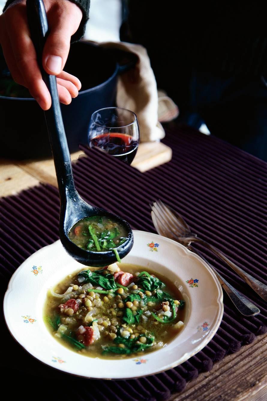 Linzen-spinaziesoep met Groninger metworst
