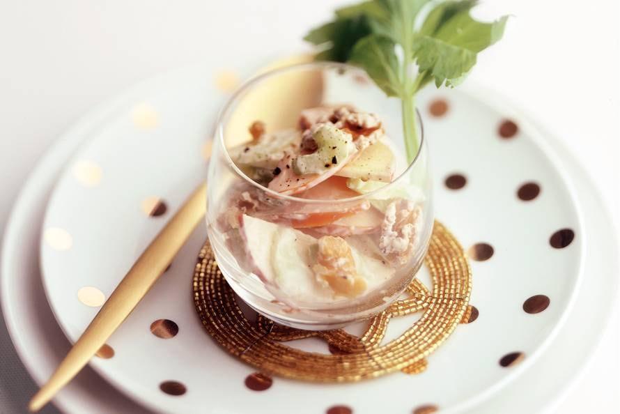 Eenpersoons waldorfsalade met kip