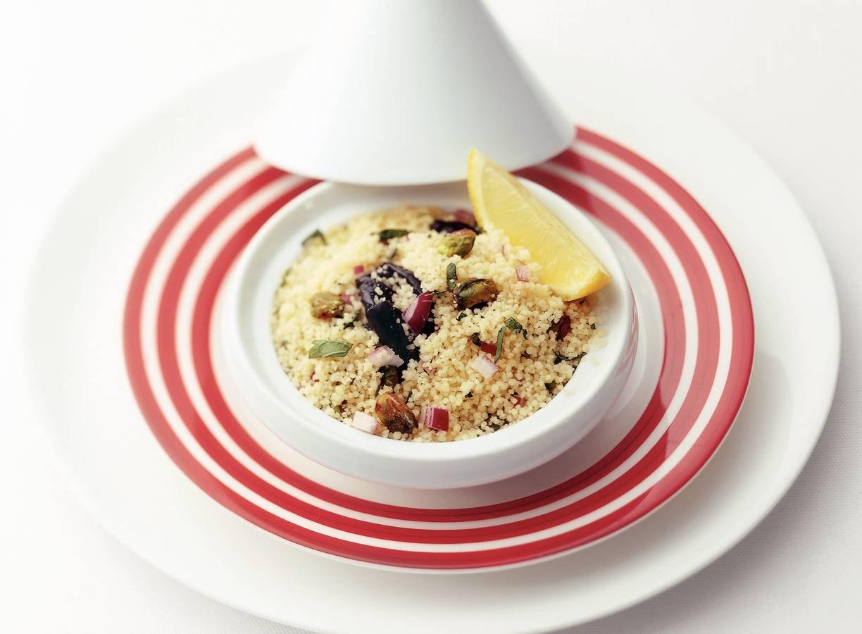 Couscous met pruim en rode ui
