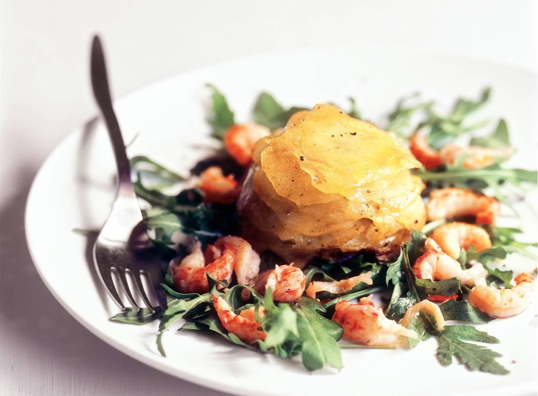 Aardappeltaartjes met rivierkreeftjes