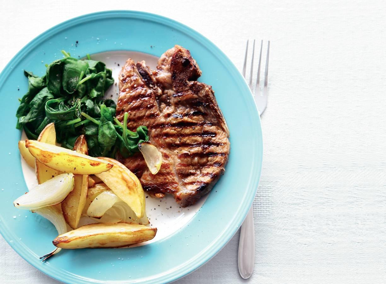 Grillkarbonades & spinazie