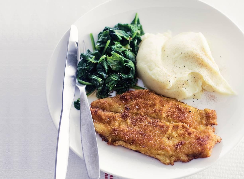 Krokante vis met spinazie