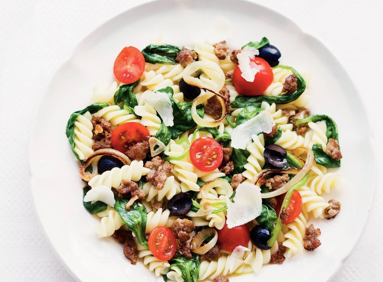 Fusilli met spinazie en olijven