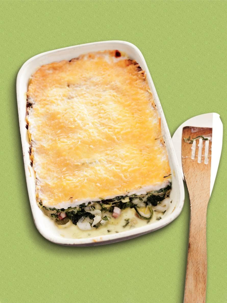 Lasagne spek, prei en spinazie