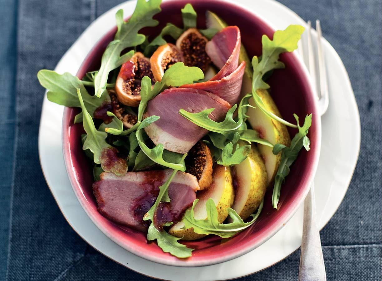 Salade met eendenborst en vijgen