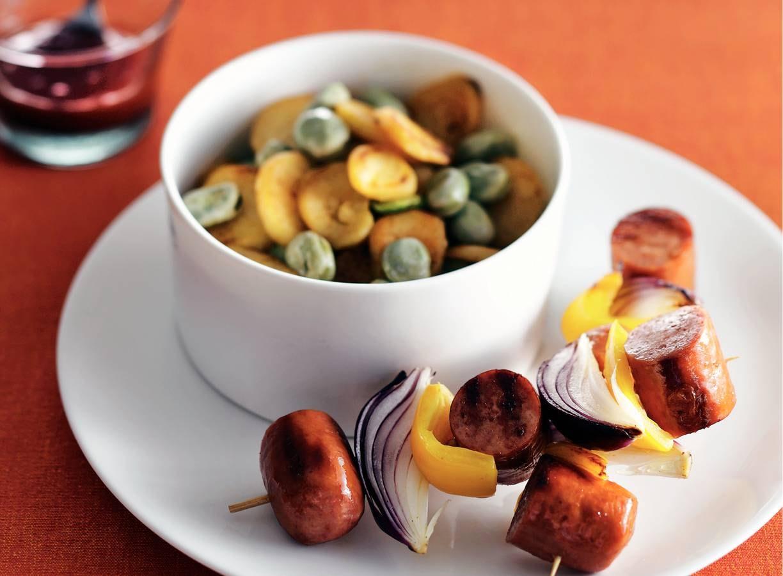 Rookworstspies met ui en paprika